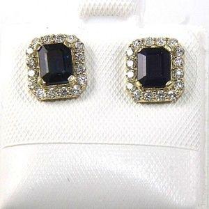 Blue Sapphire & Diamond Earrings 14K YG 1.23Ct